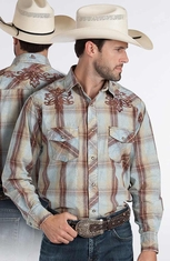 Resistol RU Mens Finn Plaid Snap Western Shirt - Blue (Closeout)