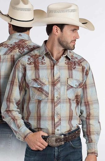 Resistol RU Mens Finn Plaid Snap Western Shirt - Blue