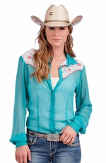 Resistol RU Womens Aqua Paints Chiffon Button Down Western Shirt (Closeout)