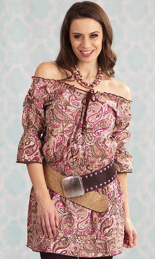 Resistol Women's RU Cowgirl Paisley Pearl Off-Shoulder Tunic Dress - Pink/ Brown (Closeout)