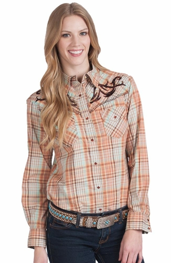 Resistol Womens RU Cowgirl Thorns & Roses Long Sleeve Plaid Snap Western Shirt (Closeout)