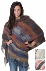 Rhonda Stark Womens Fringe Poncho - 3 Color Options