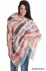 Rhonda Stark Womens Fringe Poncho - 2 Color Options (Closeout)