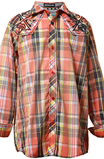 Roar Boys Encode Long Sleeve Plaid Button Down Western Shirt - Orange (Closeout)