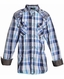 Roar Boys Evander Long Sleeve Plaid Button Down Western Shirt - Blue (Closeout)