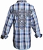 Roar Boys Evander Long Sleeve Plaid Button Down Western Shirt - Blue