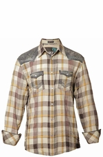 "Roar Men's ""Hands On"" Long Sleeve Plaid Western Snap Shirt - Ecru"