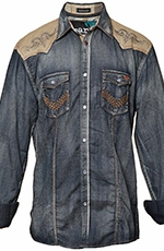 Roar Mens Long Sleeve Hands On Denim Western Shirt - Blue (Closeout)