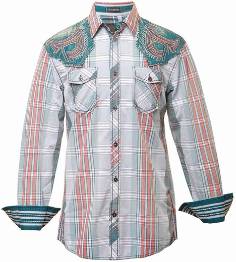 Roar Mens Fanatic Button Down Shirt - Blue/Orange
