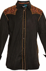 Roar Mens Slim Fit Sunburst Button Down Western Shirt - Black (Closeout)