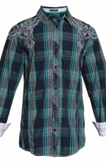 Roar Mens Slim Fit Supersonic Plaid Button Down Western Shirt