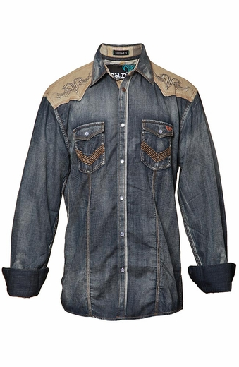 Roar Mens Long Sleeve Hands On Denim Western Shirt - Blue