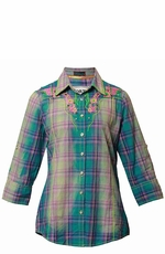 "Roar Women's ""American Summer II"" 3/4 Sleeve Plaid Western Button Down Shirt - Green"