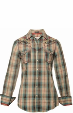 "Roar Women's ""American Summer"" Long Sleeve Plaid Western Snap Shirt - Blue"