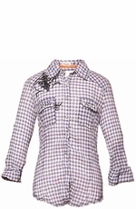 "Roar Women's ""Deena"" Long Sleeve Plaid Western Snap Shirt - Purple"