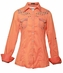 Roar Womens Long Sleeve Take To Flight Solid Western Snap Shirt - Orange