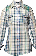 Roar Womens Sasafras Convertible Sleeve Plaid Western Shirt with Lace Yokes - Blue