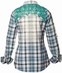Roar Womens Sasafras Convertible Sleeve Plaid Western Shirt with Lace Yokes - Blue (Closeout)