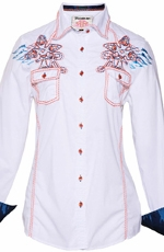 Roar Womens Sidewinder II Button Down Western Shirt - White