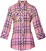 Roar Womens Aquarius 3/4 Sleeve Plaid Button Down Western Shirt - Pink