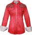 Roar Womens Simone Convertible Long Sleeve Western Shirt - Red