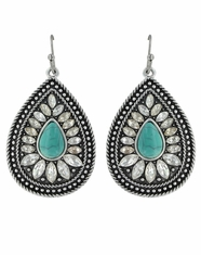 Rock 47 Bohemian Crystal Drop Earrings - Silver