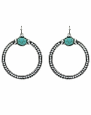 Rock 47 Crystal Open Circle Earrings - Silver