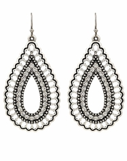 Rock 47 Crystal Teardrop Earrings - Silver