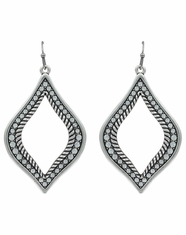 Rock 47 Open Crystal Rope Earrings - Silver