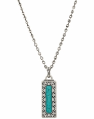 Rock 47 Rectangular Turquoise Pendant Necklace - Silver