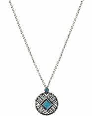 Rock 47 Turquoise Aztec Pendant Necklace - Silver