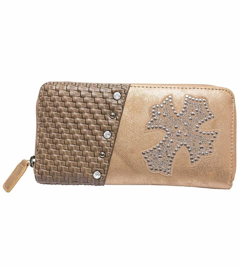 Rock 47 Womens Angel Shimmer Wallet - Tan
