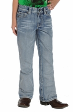 Rock & Roll Cowboy Boys Regular Fit Boot Cut BB Gun Jeans -- Light Wash (Closeout)