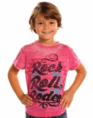 Rock and Roll Cowgirl Girl's Short Sleeve Logo Tee Shirt - Hot Pink
