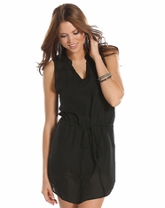 Rock and Roll Cowgirl Women's Georgette Dress - Black