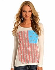 Rock and Roll Cowgirl Women's Long Sleeve Flag Top- Natural (Closeout)