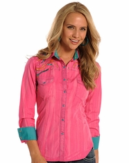 Rock and Roll Cowgirl Women's Long Sleeve Snap Shirt - Pink (Closeout)