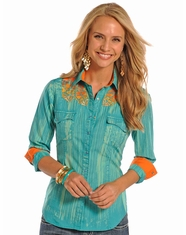 Rock and Roll Cowgirl Women's Long Sleeve Snap Shirt - Turquoise (Closeout)