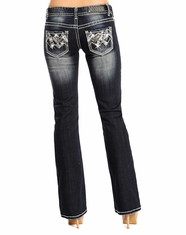 Rock and Roll Cowgirl Women's Low Rise Boot Cut Jeans - Dark Vintage