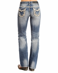 Rock and Roll Cowgirl Women's Mid Rise Boot Cut Jeans - Medium Vintage (Closeout)