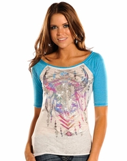 Rock and Roll Cowgirl Women's Raglan Top - White (Closeout)