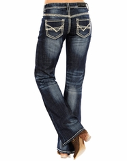 Rock and Roll Cowgirl Women's Riding Boot Cut Jeans - Dark Vintage