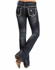 Rock and Roll Cowgirl Women's Rival Low Rise Boot Cut Jeans - Dark Wash