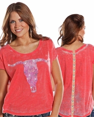 Rock and Roll Cowgirl Women's Short Sleeve Boxy Top - Coral