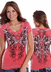Rock and Roll Cowgirl Women's Short Sleeve Burnout Top - Coral (Closeout)