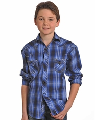 Rock & Roll Cowboy Boy's Long Sleeve Plaid Snap Shirt - Indigo