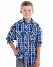 Rock & Roll Cowboy Boy's Long Sleeve Plaid Snap Shirt - Royal (Closeout)