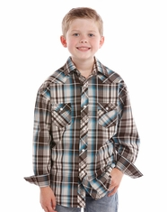 Rock & Roll Cowboy Boy's Long Sleeve Plaid Snap Shirt - Turquoise (Closeout)