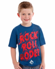 Rock & Roll Cowboy Boy's Short Sleeve Logo T-Shirt - Blue (Closeout)