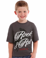 Rock & Roll Cowboy Boy's Short Sleeve Logo T-Shirt - Charcoal (Closeout)